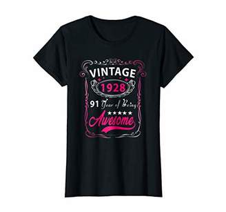 Womens Vintage 1928 91st birthday gift 91 Years old Funny T-Shirt