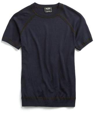 Todd Snyder Tipped Italian Silk Short Sleeve Sweater in Navy