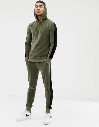 Asos Design DESIGN tracksuit muscle hoodie/ super skinny sweatpants in velour with side stripes in khaki