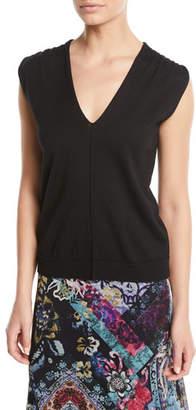 Fuzzi V-Neck Short-Sleeve Wool Top