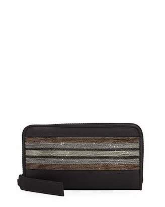 Brunello Cucinelli Monili-Trim Zip-Around Wallet