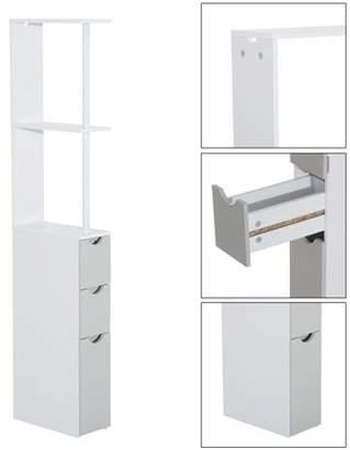 "Anself 55"" Bathroom Tower Storage Cabinet - White"