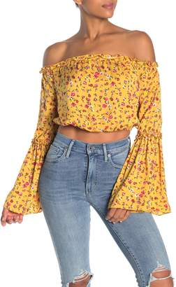 The Fifth Label Sonic Floral Off-the-Shoulder Crop Top