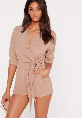 Missguided Wrap Front Shirt Romper Taupe