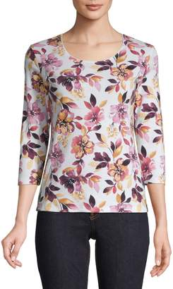Karen Scott Three-Quarter-Sleeve Floral Print Top