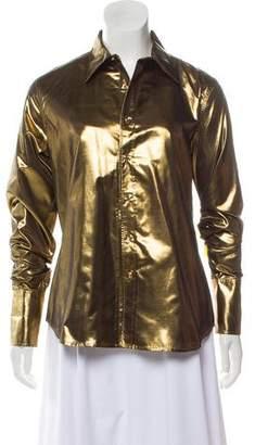 Ralph Lauren Black Label Metallic Button-Up Blouse