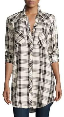 Tolani Plus Size Tina Long-Sleeve Plaid Tunic