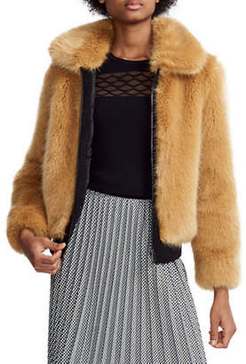 Maje Brox Faux Fur Cropped Jacket