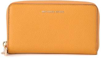 Michael Kors Yellow Leather Wallet With Wrist Lace.