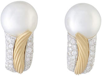 Mikimoto 18K Two-Tone 1.07 Ct. Tw. Diamond & 11-12Mm Pearl Earrings