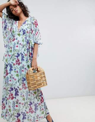 Ghost kimono sleeve printed maxi dress