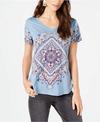 Style&Co. Style & Co Printed V-Neck T-Shirt