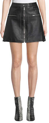 7 For All Mankind Leather Biker Mini Skirt