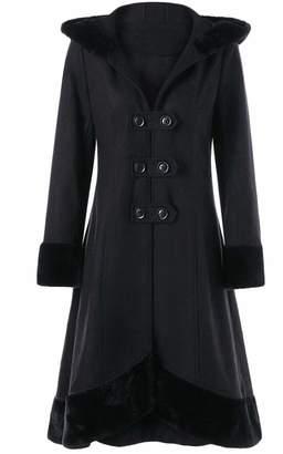 Zantt Women Winter Double-Breasted Hooded Wool Blend Long Trench Coat M