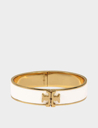 Tory Burch Raised Logo Thin Enamel Hinged Bracelet in Ivory Tory Gold Brass and Enamel