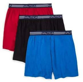 Nautica Three-Pack Knit Cotton Boxer Briefs