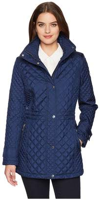 Calvin Klein Quilt Anorak with Hidden Hood Women's Coat
