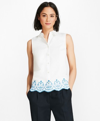 Brooks Brothers Floral-Embroidered Cotton Sateen Blouse