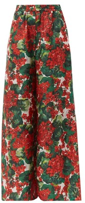 Dolce & Gabbana Geranium Print Silk Wide Leg Trousers - Womens - Red Multi