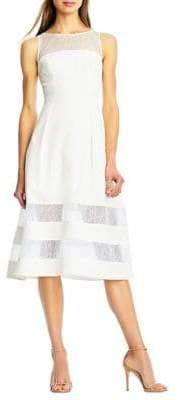 Aidan Mattox Banded Lace A-Line Dress