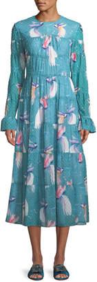 Borgo De Nor Long-Sleeve Crewneck A-Line Bird-Print Long Peasant Dress