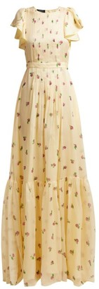 Rochas Pleated Floral Print Silk Georgette Gown - Womens - Yellow