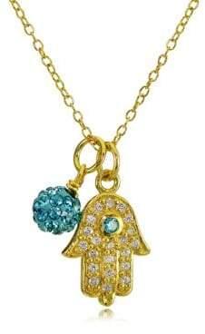 Lord & Taylor Goldtone Hamsa Hand and Fireball Pendant Necklace