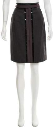 Tory Burch Leather-Accented Midi Skirt