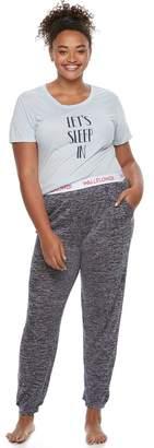 Juniors' Plus Size Wallflower Pajamas: Graphic Tee & Hatchi Jogger Pants 2-Piece PJ Set