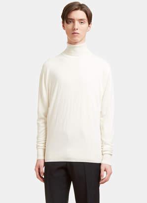 Aiezen AIEZEN Men's Cashmere and Silk Roll Neck Sweater in Milk