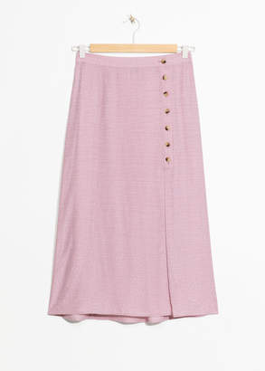 And other stories Asymmetrical Button Midi Skirt