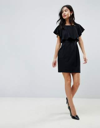 Asos DESIGN Double Layer Mini Wiggle Dress with Angel Sleeve