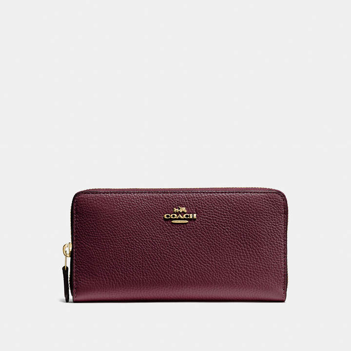 Coach  COACH Coach Accordion Zip Wallet In Polished Pebble Leather