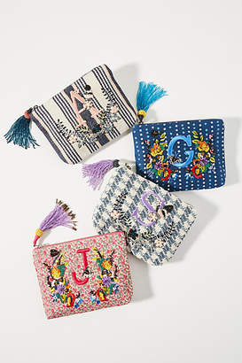 Anthropologie Embroidered Monogram Pouch
