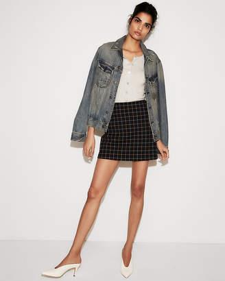 Express High Waisted Windowpane Clean Mini Skirt