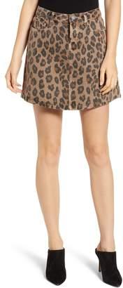 Blank NYC BLANKNYC Leopard Print A-Line Denim Skirt