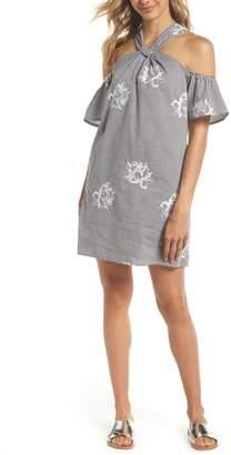 Ali & Jay Melrose Fling Embroidered Stripe Halter Dress