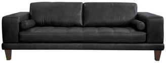 Armen Living Wynne Contemporary Genuine Leather Sofa With Brown Wood Legs