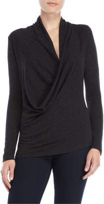 Lilla P Draped Front Long Sleeve Top