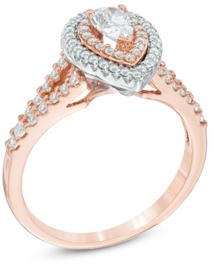 zales 1 ct tw pear shaped diamond double frame engagement ring in 14k two - Zales Wedding Rings For Her