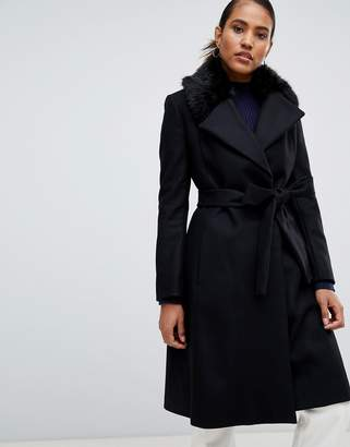 French Connection Fur Trim Trench Coat