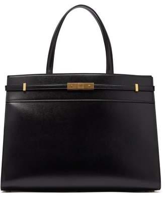 Saint Laurent Manhattan Medium Leather Tote Bag - Womens - Black