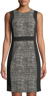 Donna Karan Sleeveless Center-Contrast Sheath Dress