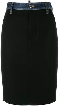 DSQUARED2 denim trim pencil skirt