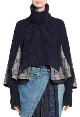 Sacai Glen Check Knit Combo Sweater