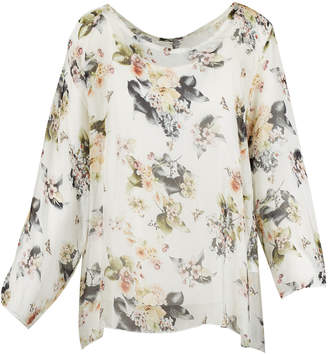M Made In Italy Floral Print Overlay Blouse