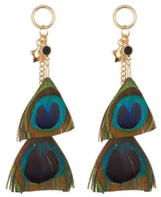Leslie Danzis Peacock Feather Earrings