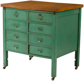 Rejuvenation Industrial 8-Drawer Workbench w/ Green Painted Finish