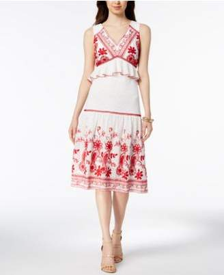 Jax Embroidered Peplum Midi Dress