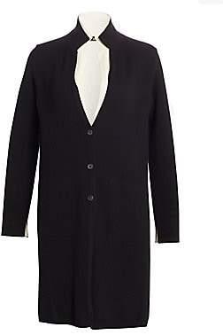 Akris Women's Bi-Color Double Layer Cashmere Knit Coat
